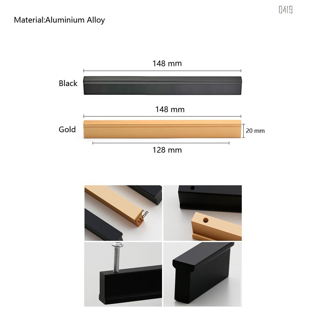 Matt Black And Gold Cabinet Door Handles and Pulls, Furniture Drawer Handles, Aluminium Alloy, 148mm Long, Kitchen Cabinet Wardrobe Knobs Bars, Center to Center 128mm
