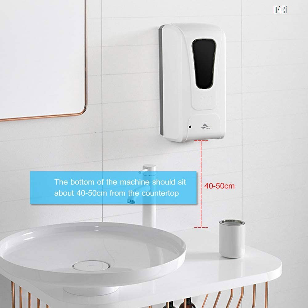 Simple Touchless Wall-Mounted Automatic Induction Soap Dispenser, Automatic Induction Sterilization,1000ml Large Capacity for Hotel, Office, School, Kitchen, Beauty Agency, Shopping mall