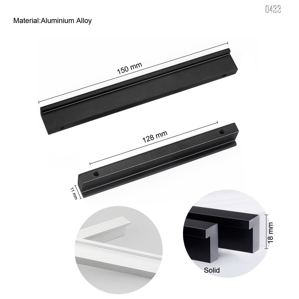 7 shape Solid Aluminium Alloy 128mm Hole Centers Cabinet Hardware Modern Drawer Handles Pulls