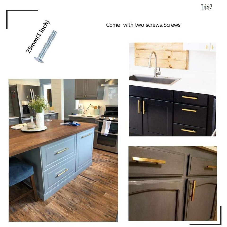 Brushed Brass Cabinet Pulls Gold Kitchen Cabinet Hardware - Euro Style Bar Handle Pull Gold Cupboard Door Handle 2-1/2