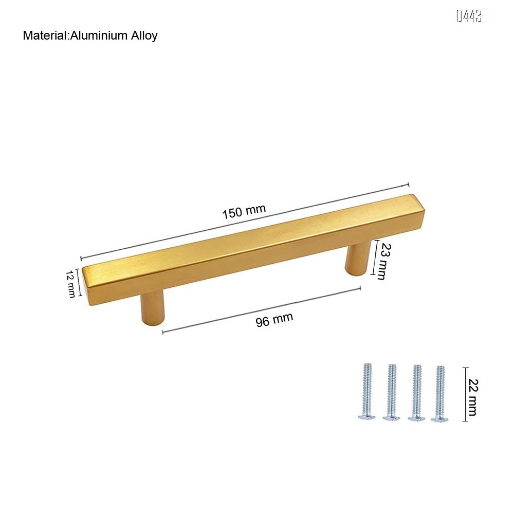 Brushed Brass Cabinet Pulls Gold Kitchen Cabinet Hardware - Euro Style Bar Handle Pull Gold Cupboard Door Handle 3-3/4 Inch (96mm) Hole Centers,6 inch Overall Length