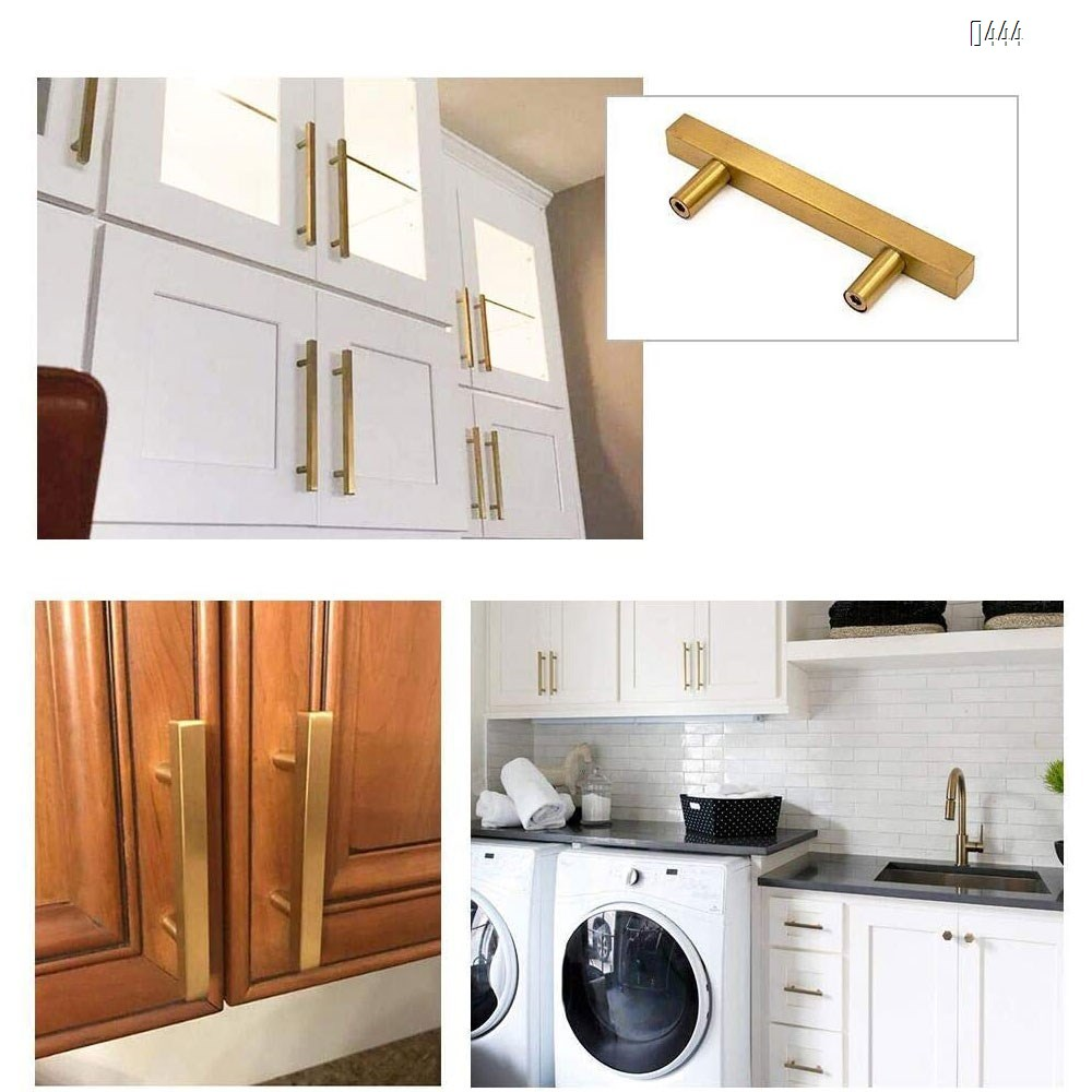 Brushed Brass Cabinet Pulls Gold Kitchen Cabinet Hardware - Euro Style Bar Handle Pull Gold Cupboard Door Handle 7-1/2 Inch (192mm) Hole Centers,11.8 inch Overall Length