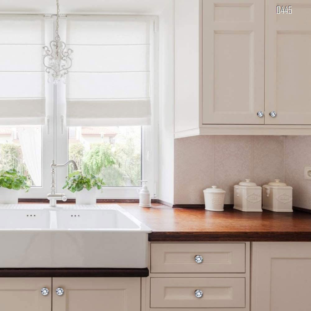 Dresser Drawer Cabinet Knobs 35mm Diamond Shaped Crystal Glass Knobs Pulls for Kitchen Wardrobe Cupboard (10 Pack, Black)