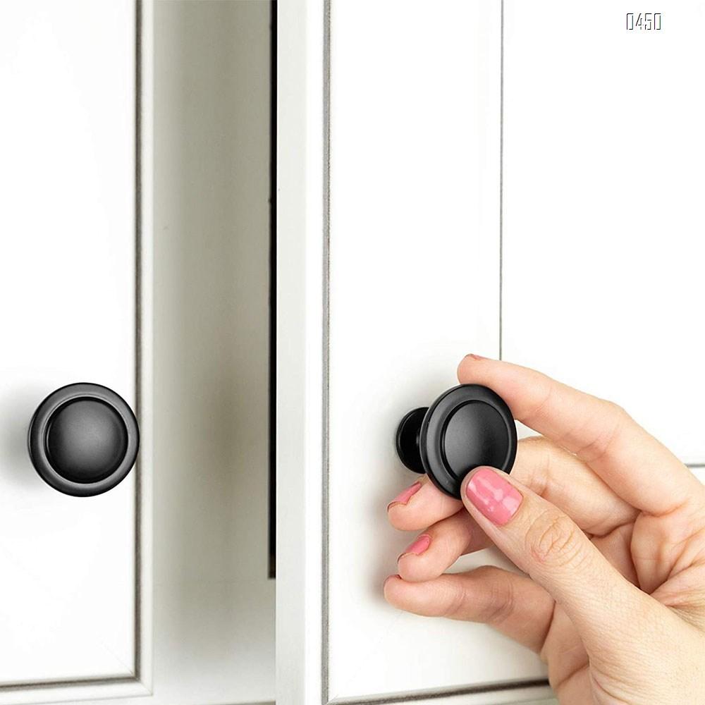 Flat Black Kitchen Cabinet Knobs  1-1/4 Inch Round Drawer Handles - Kitchen Cabinet Hardware