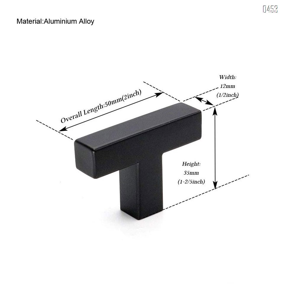 Black 1/2in Square Bar Cabinet Pull Drawer Handles and Knobs Aluminium Alloy Single Hole Hardware for Kitchen and Bathroom Cabinets Cupboard 2in(50mm) Overall Length Pull knobs