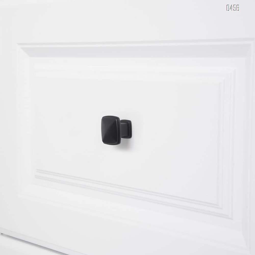 Traditional Square Cabinet Knob, 1.25-inch Diameter, Flat Black