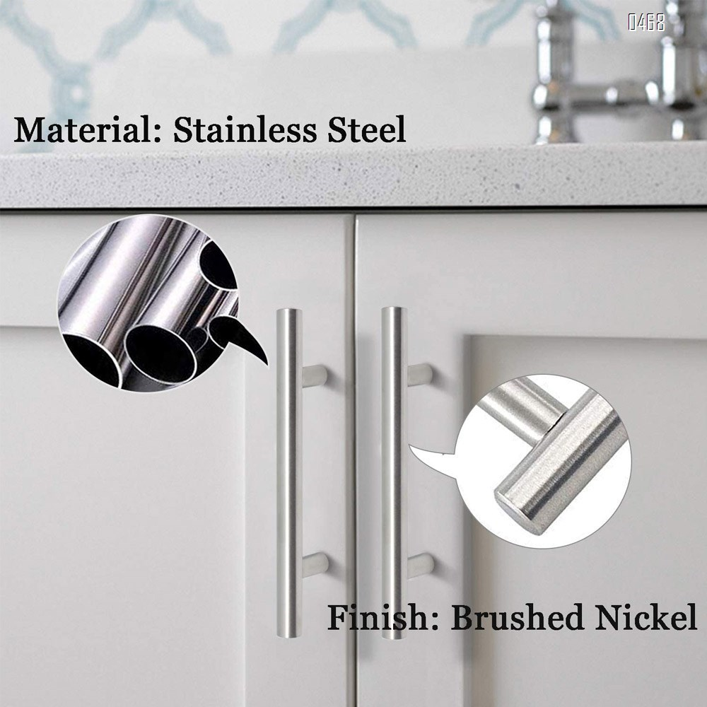 Brushed Nickel Stainless Steel Kitchen Cabinet T Bar Handle Furniture Drawer Pulls Cupboard Knobs (128mm Hole Centers - 200mm Long)