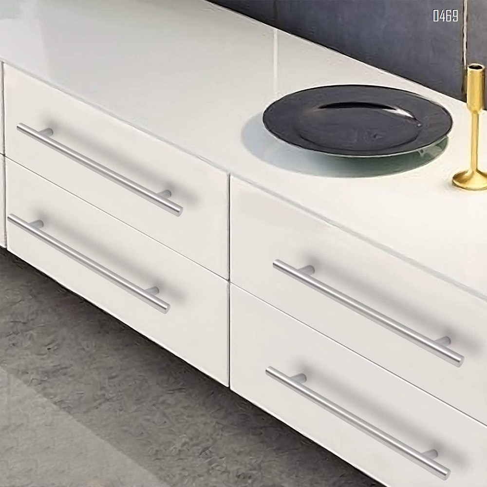 Modern Brushed Nickel Stainless Steel Bedroom T Bar Handle Drawer Pulls Cupboard Knobs Cabinet Hardware (192mm Hole Centers - 300mm Long)