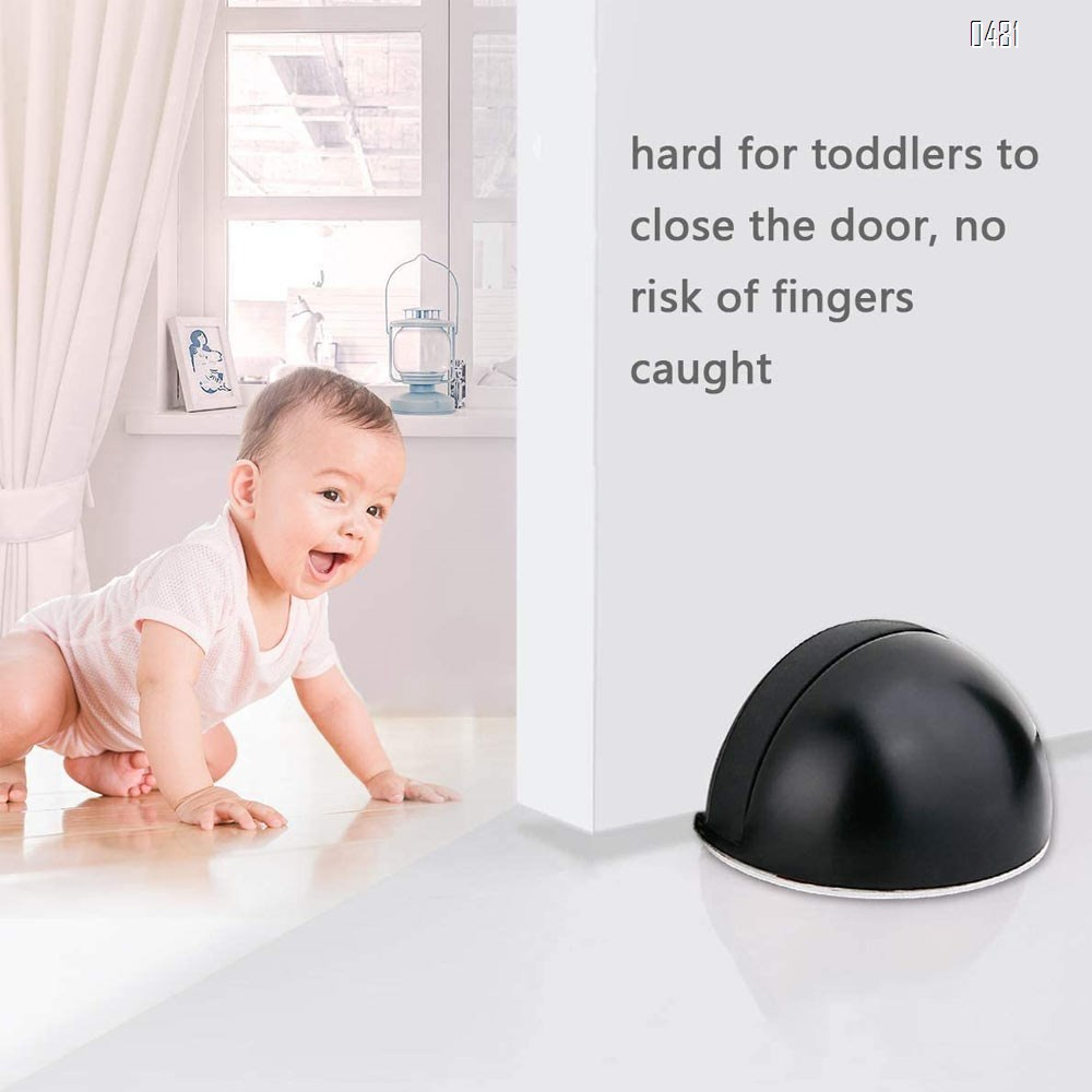 Door Stops, Magnetic Door Stop with 3M Adhesive No Drilling, Brushed Satin, Black Flush Modern Floor Mount Magnetic Door Catch Door Holder