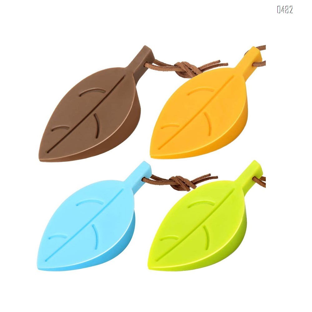 Door Stopper Wedge Finger Protector, Silicone Door Stops, Cute Colorful Cartoon Leaf Style Secure Flexible Decorative Finger Protector, for Home and Office(Green, Yellow, Blue, Brown)