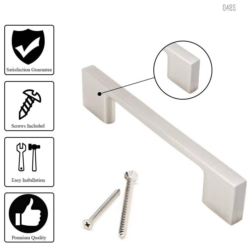Brushed Nickel Cabinet Handles | 6.3 Inches Total Length | 5 Inch Screw Spacing | Satin Nickel Drawer Pulls, Modern Cabinet Hardware | Nickel Cabinet Pulls