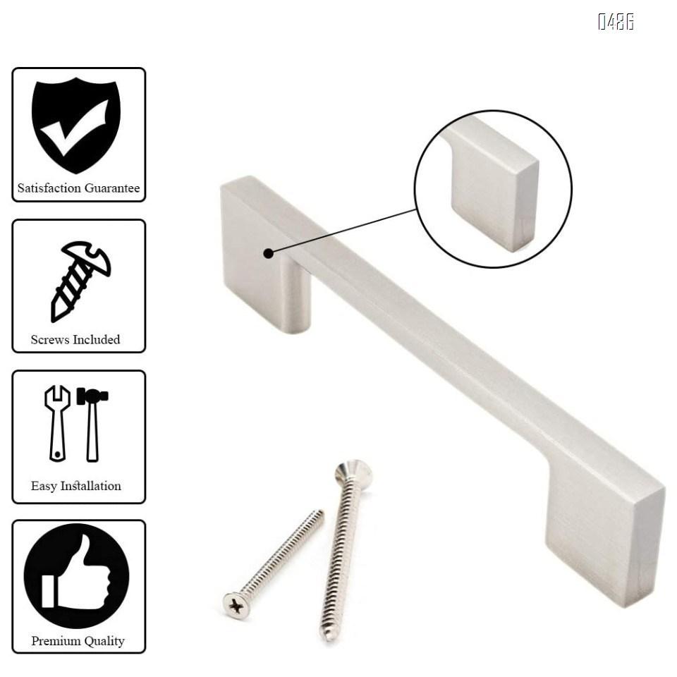 Brushed Nickel Cabinet Handles, 8.75 Inch Screw Spacing, 10 Inches Total Length, Satin Nickel Drawer Pulls, Modern Cabinet Hardware, Nickel Cabinet Pulls