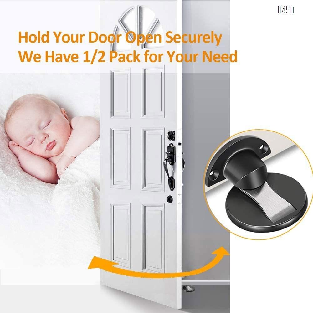 Zinc Alloy Magnetic Door Stop Catch Holder, Heavy Duty Door Stopper, Multi Surface Door Stops, No Drilling, 2 Ways to Install