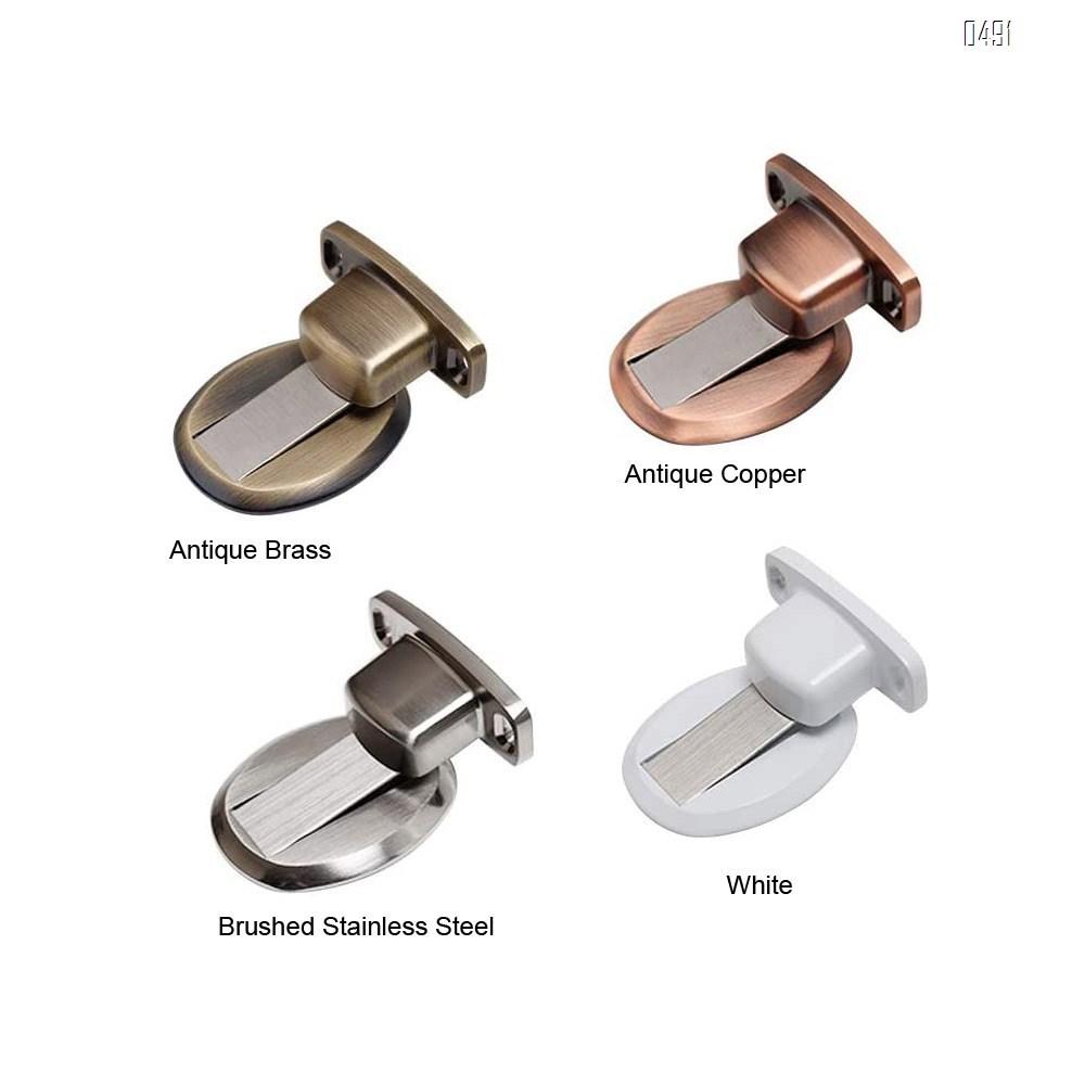 Magnetic Door Stop, Invisible Magnetic Door Stopper,Brushed Satin Nickel,Floor Metal Magnetic Door Catch Door Holder with 3M Adhesive,Stainless Steel Doorstop Heavy Duty