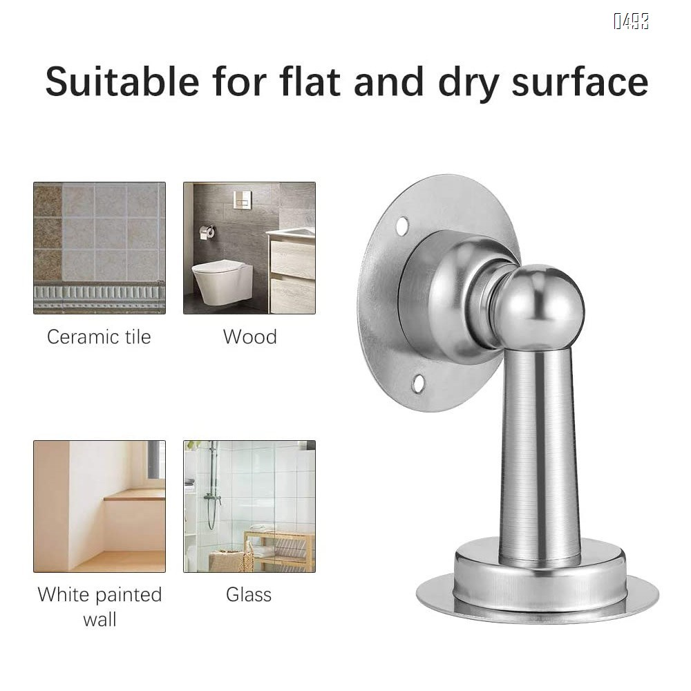 Door Stops Mute Collision Stainless Steel Magnetic Door Stops Double-Sided Adhesive Tape Without Drill And Mount Doorstop with Screws