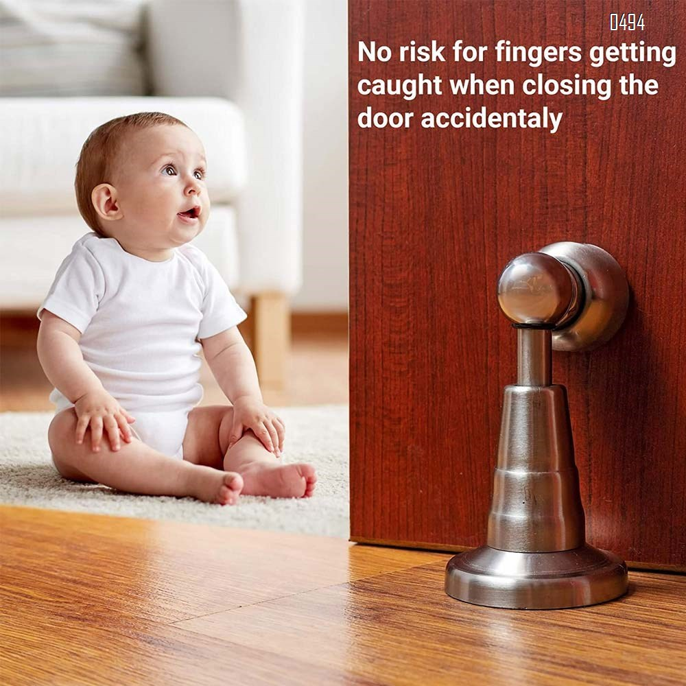 Magnetic Door Stop with Soft-Catch - Stainless Steel Brushed Magnetic Stopper, Chrome Heavy Duty Magnet,Hold Door Open with Solid Mental Magnets