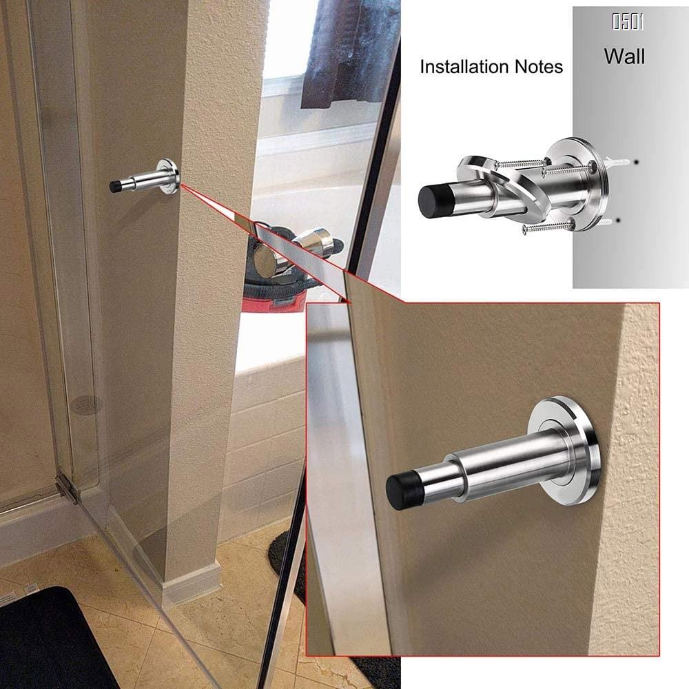 Stainless Steel Adjustable Door Stopper - Heavy Duty Door Stop with Rubber Bumper, Wall Mounted Solid Doorstop with Screws, Brushed Finish