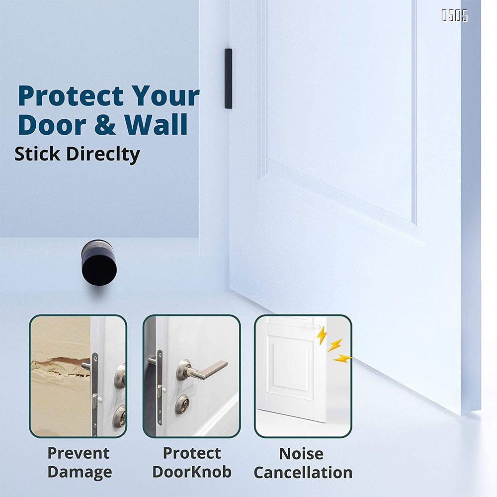 Adhesive Door Stops - Heavy Duty Stainless Steel Rubber Stopper for Doors with Extra Stickers Included - Dent Protectors Stop and Sound Dampening Rubber Top