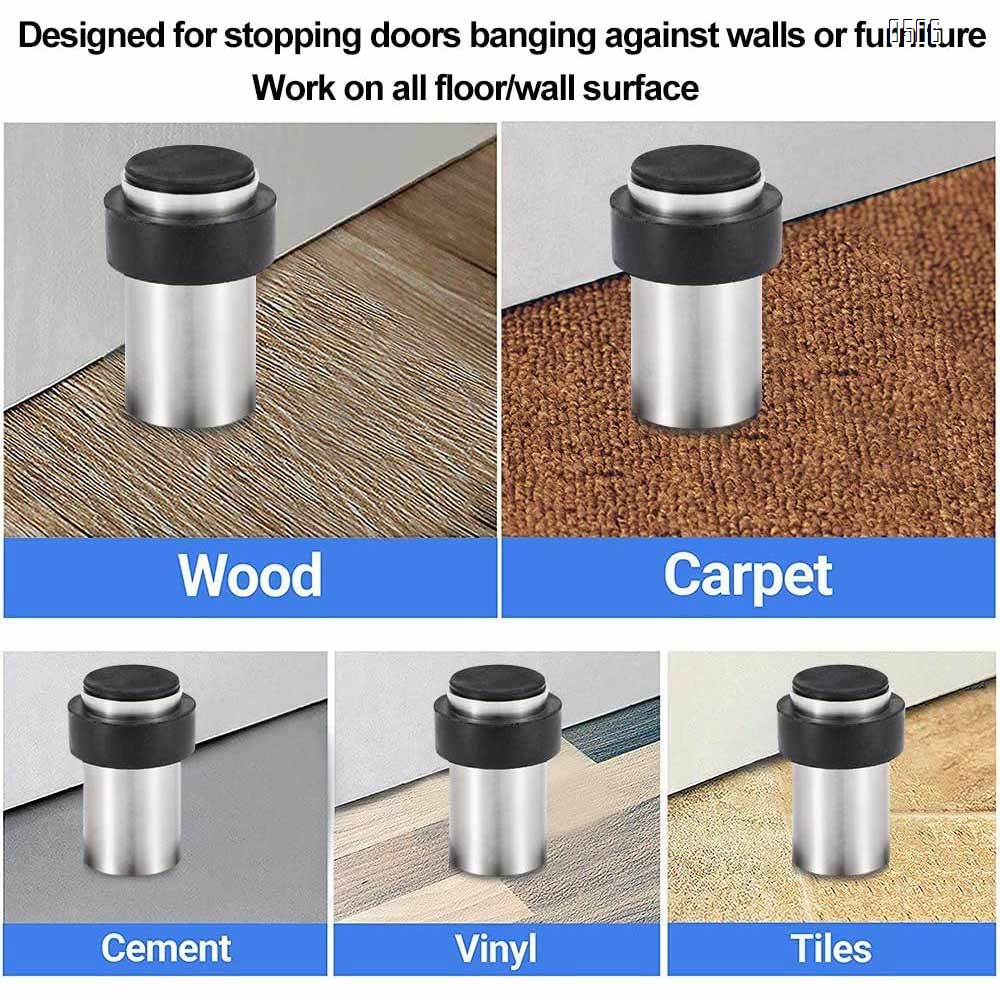 Door Stops 60mm with Rubber Bumper for Floor Wall Mount, Stainless Steel Heavy Duty Door Stopper Wedge with Screw, 3M Self Adhesive Tape No Need to Drill for Preventing Door Hitting Wall