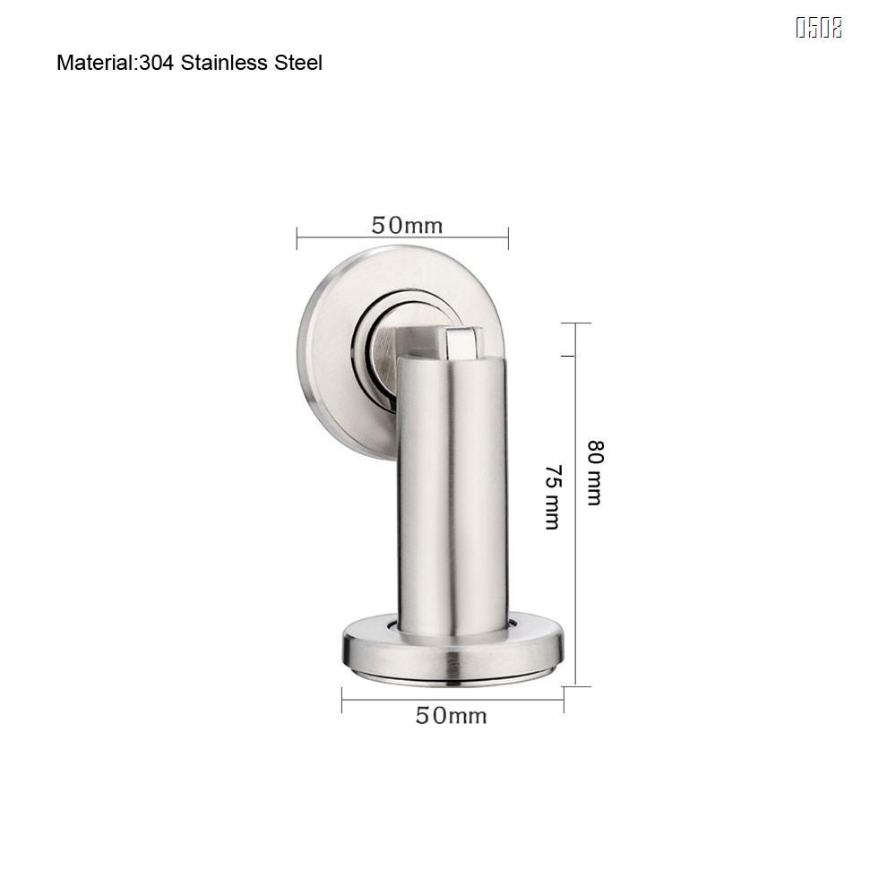 Magnetic Door Stop - Stainless Steel Look Door Holder incl. Fixing Material - Magnetic Door Stopper Floor and Wall Mounted