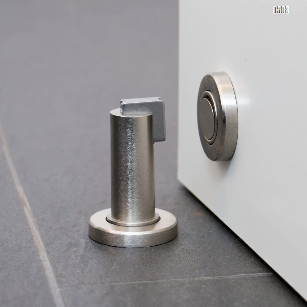 Magnetic Door Stop - Stainless Steel Look Door Holder incl. Fixing Material - Magnetic Door Stopper Floor and Wall Mounted