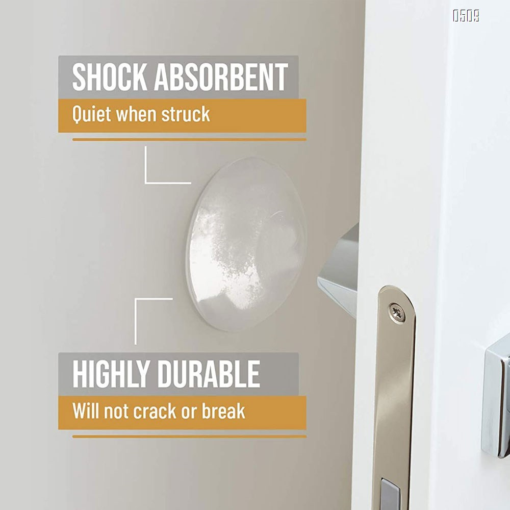 Door Stopper Wall Protector  - Quiet, Shock Absorbent Gel - Adhesive Reusable Bumper Protector, Wall Shield And Silencer for Door Handle - More Discreet Than a Door Knob Safety Cover