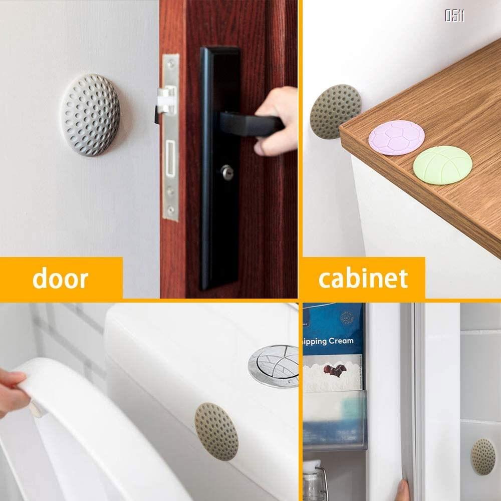 Door Handle Wall Protector,2 inch Door Knob Wall Protector Gray,Door Stopper Wall Protector,Rubber Self-Adhesive Wall Protector for Door,Fridge,Cupboards,Bathroom,Windows