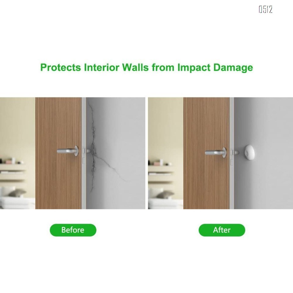 Wall Protector Door Stop, Door Handle Bumper Buffer 1 Pack Rubber Door Knob Stopper 3M Self Adhesive Wall Sticker Pad Wall Guard for Wall Corner, Bathroom, Bedroom, Headboard, Cupboard,White