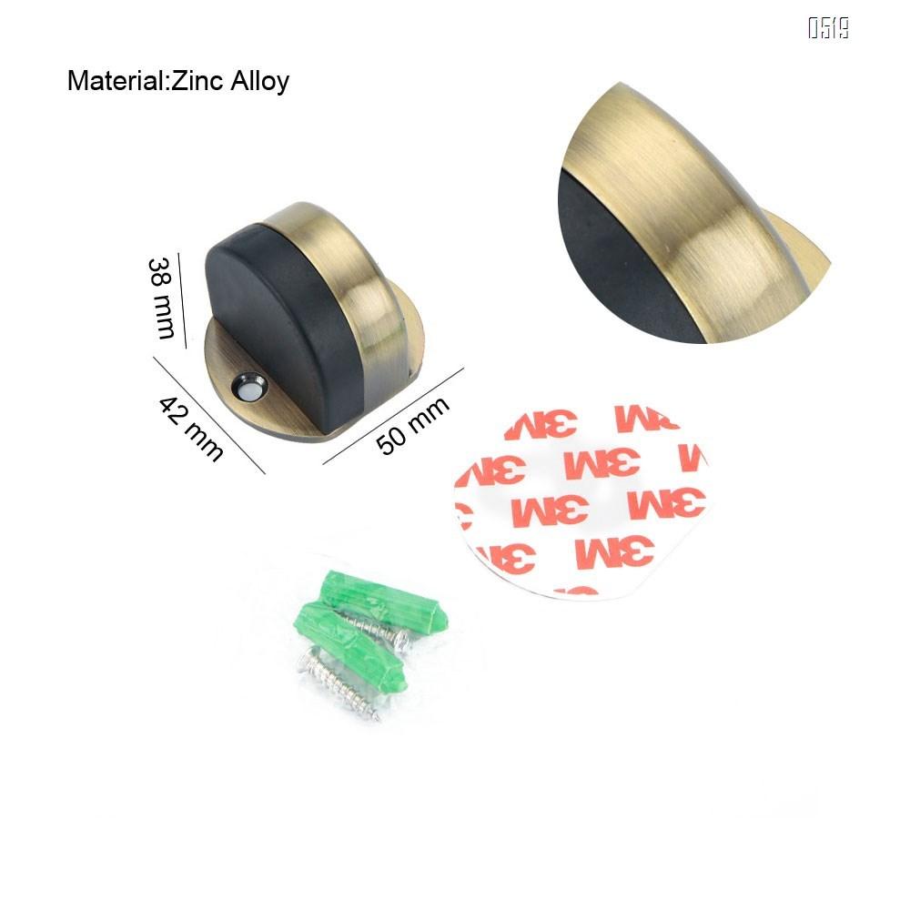 Zinc Alloy Floor Door Stopper, Oval Floor Mounted Half Moon Door Stop with Screws and Glues