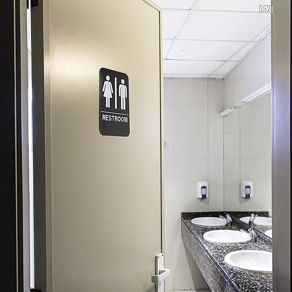 Unisex Braille Bathroom Restroom Sign Men And Women Bathroom Signs