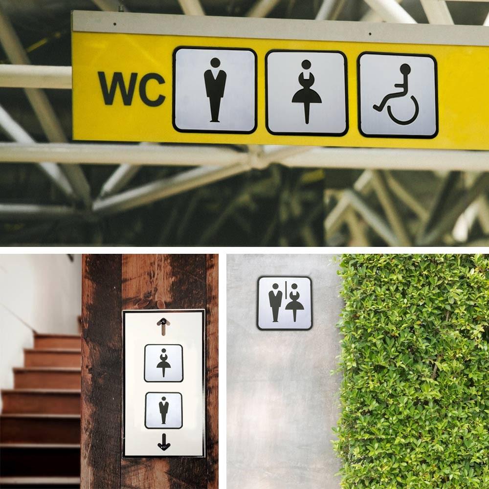 Self Sticker Unisex Bathroom Signs,  Bathroom Door Sign for Offices, Businesses,Stainless Steel Plus Plastic bathroom signs