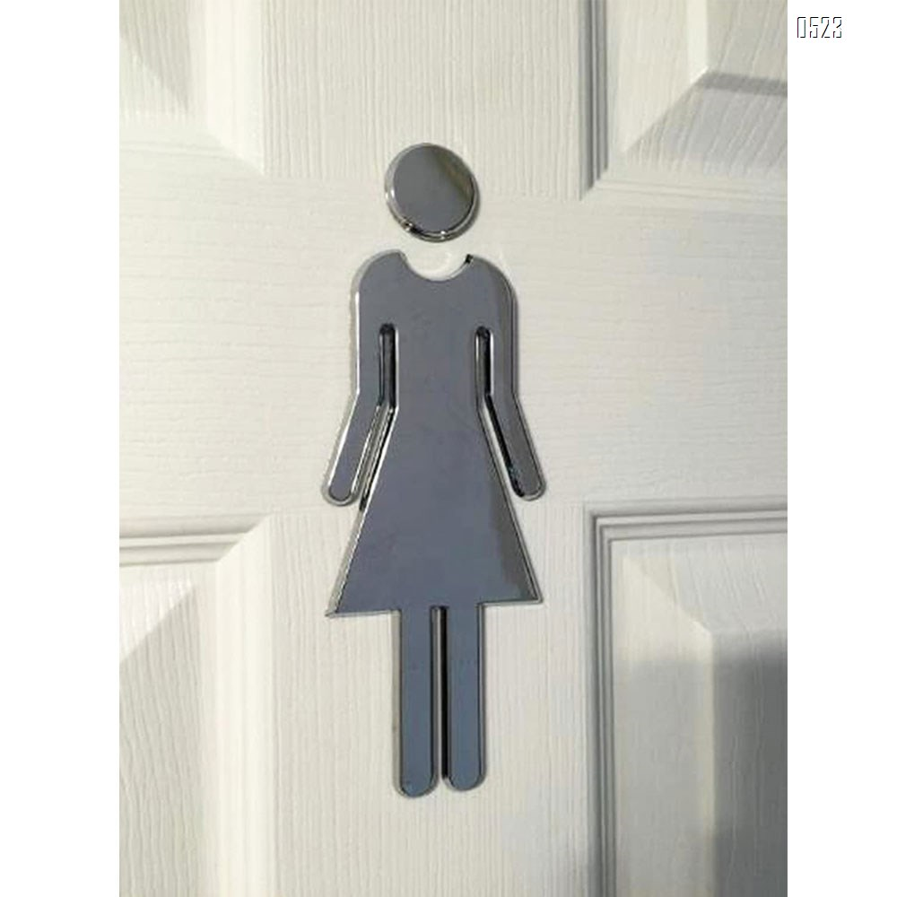 ABS Adhesive Backed Men's and Women's Bathroom Sign 5 Inch (Silver)(2PCS/SET)