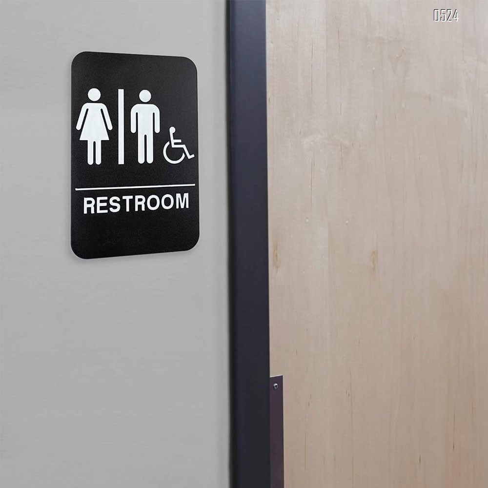 Signs Unisex Braille Restroom Sign - Bathroom Sign with Double Sided 3M Tape