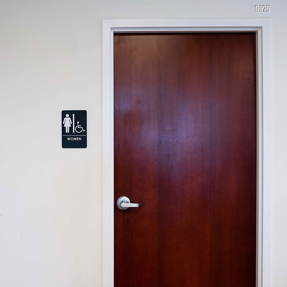 Women Restroom Sign with Wheelchair Black/White - ADA Compliant