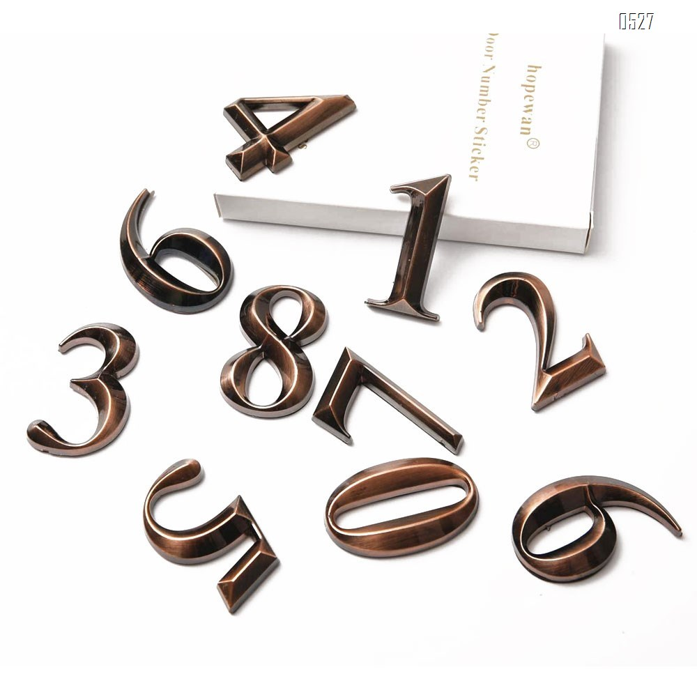 Mailbox Numbers 0-9, 2.7 Inch High, Door Address Numbers Stickers for/Apartment/House Room/Office, Bronze/Silver Plating Process