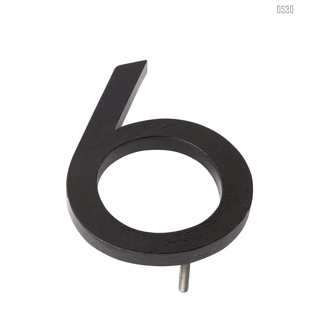6 Inch Montague Metal Products Solid Stainless Steel Modern Floating Address House Numbers, Powder Coated Black