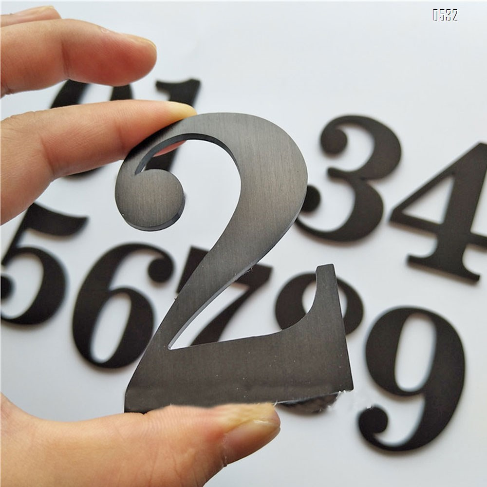 Self Adhesive 2.7 Inches Mailbox Door Sign Number House Address Number, Brushed Stainless Steel
