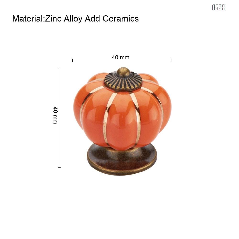 Vintage Ceramic Pumpkin Door Knobs  Kitchen Cabinet Drawer Dresser Cupboard Pull Handle Knob