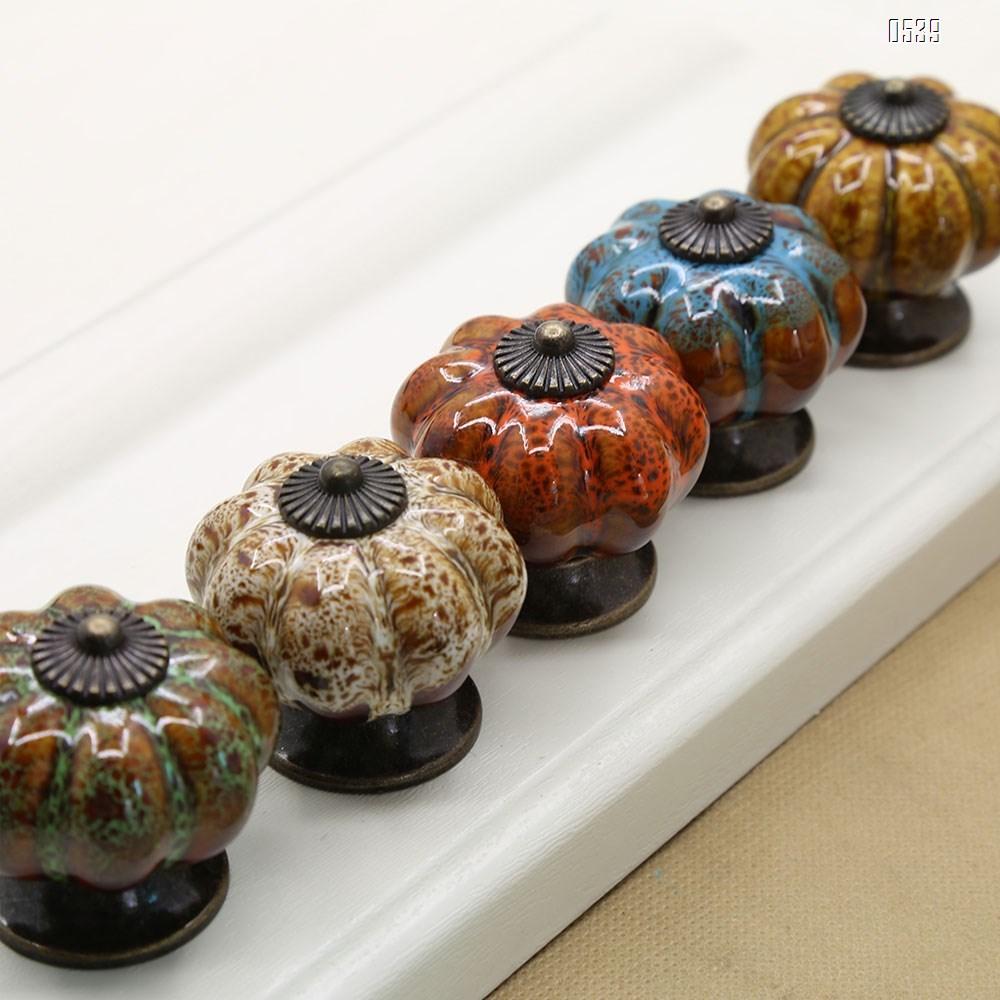 Ceramic Glazed Pumpkin Knobs Classy Vintage Cabinet Door Pull Handle