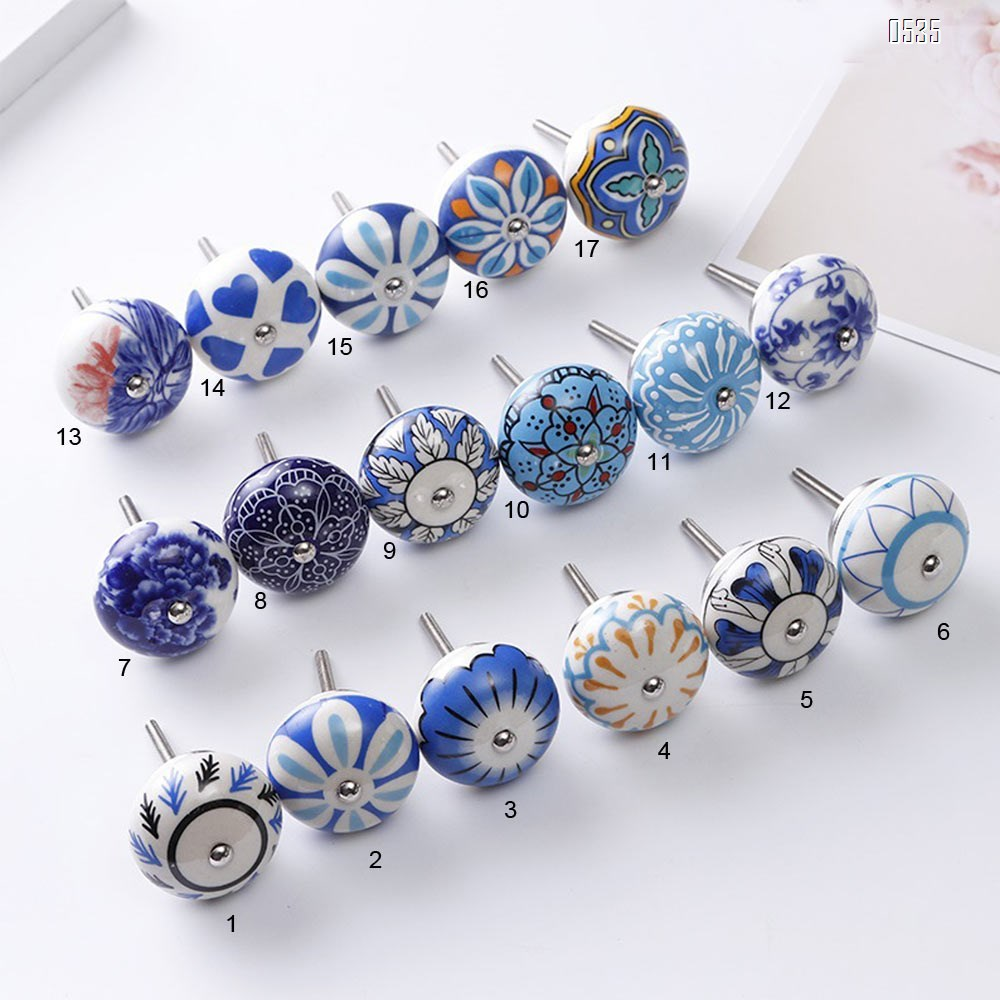 Knobs Blue Cream Rare Hand Painted Ceramic Knobs Cabinet Drawer Pull Pulls