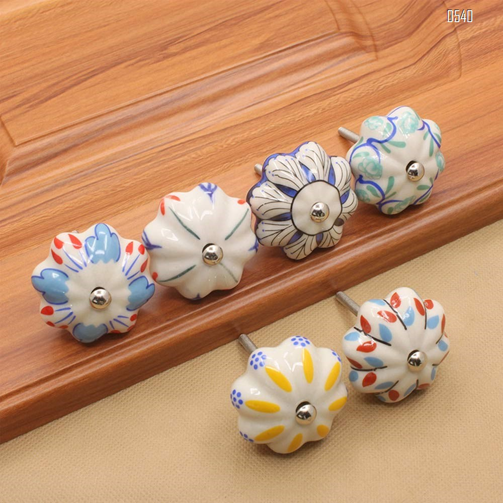 Vintage Shabby Knobs Blue and Pink Floral Hand Painted Ceramic Pumpkin Cupboard Wardrobe Cabinet Drawer Door Handles Pulls Knob