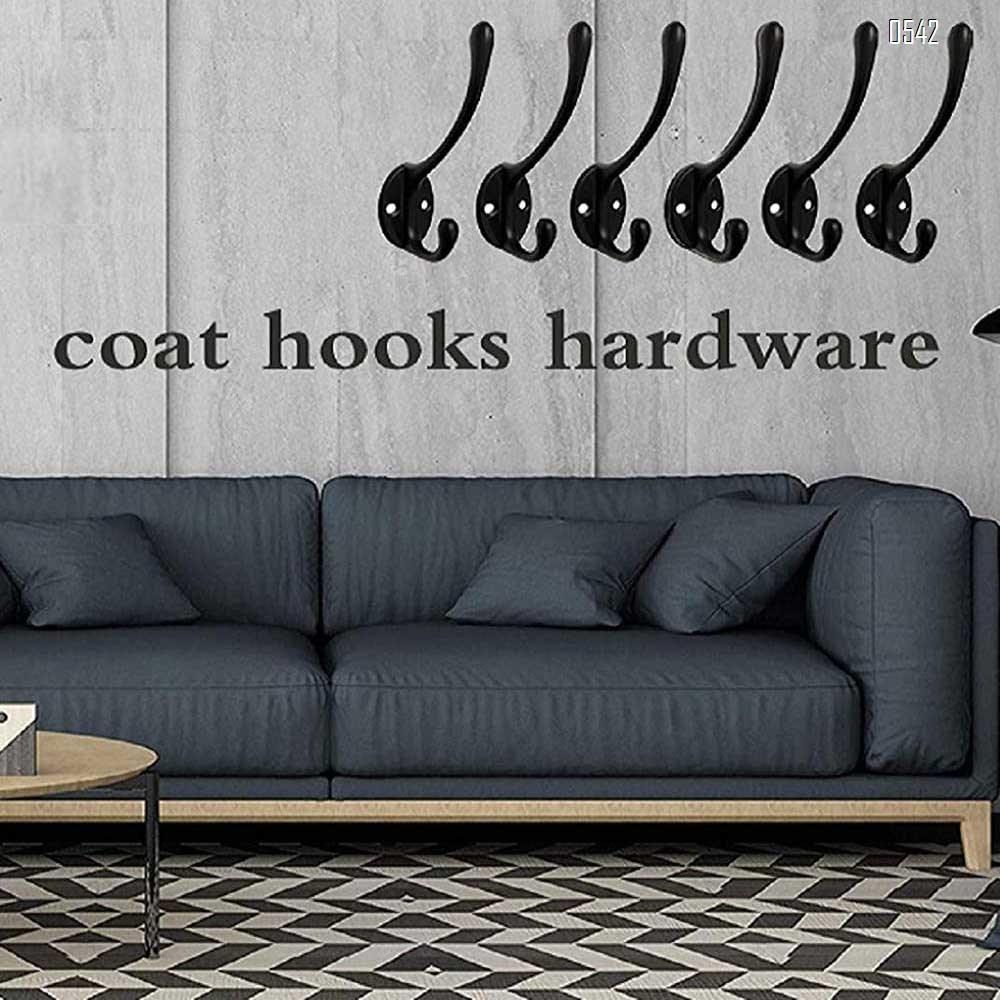 Dual Coat Hooks Wall Mounted Metal Hooks Utility Hooks Robe Hook Rustic Double Hooks Coat Hanger  for Coat, Scarf, Bag, Towel, Key, Cap, Cup, Hat