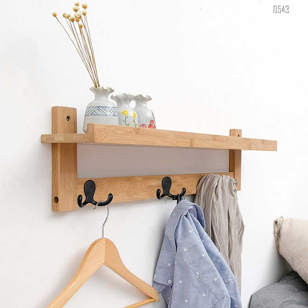 Double Robe Hook heavy duty Coat Hooks Wall Mounted for Hat hardware Dual Prong Retro Coat Hanger with 2 Screws