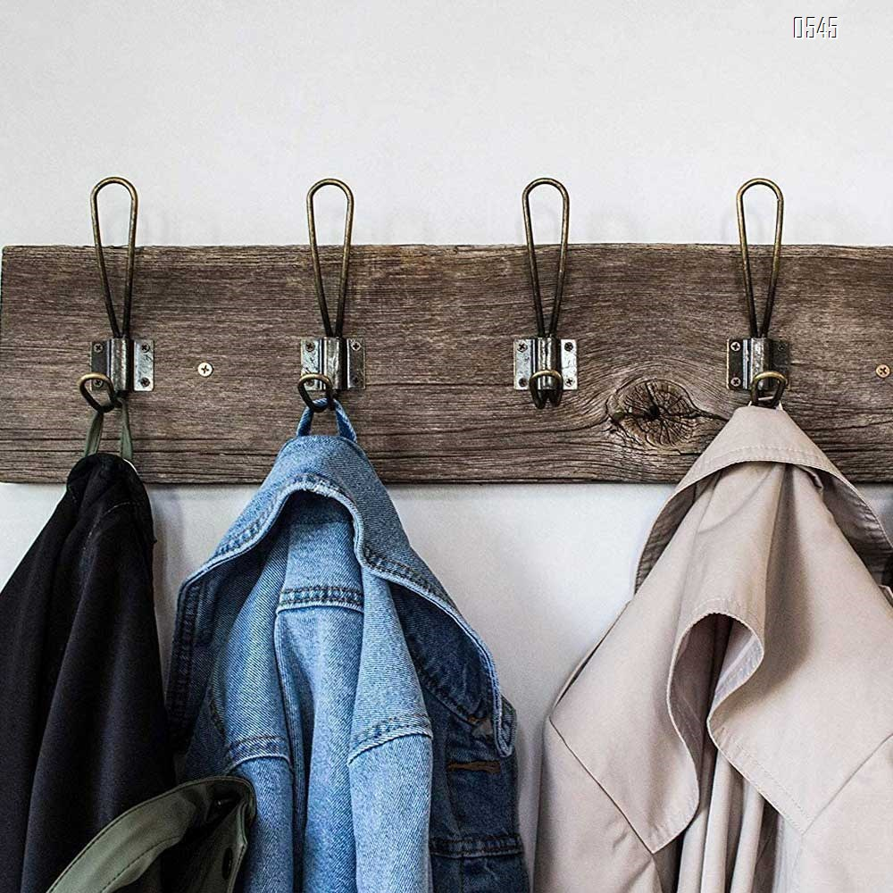 Rustic Entryway Hooks Wall Mounted Vintage Double Coat Hangers with Large Metal Screws Included