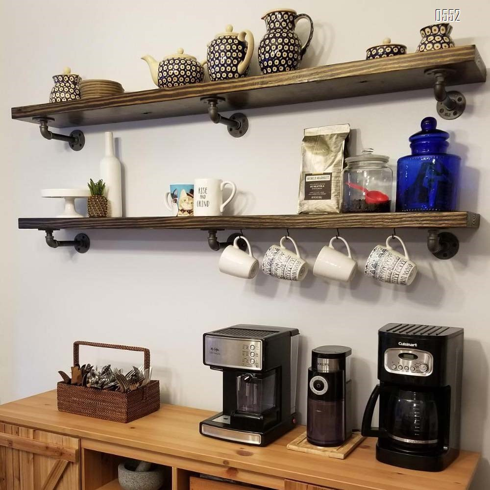 Industrial Pipe Shelf Brackets , Authentic Pipe Plumbing Fittings and Pieces, Wall Mounted Double Flange Floating Shelves, Rustic Bracket Set for Vintage Shelving Decor 2.7 Inch
