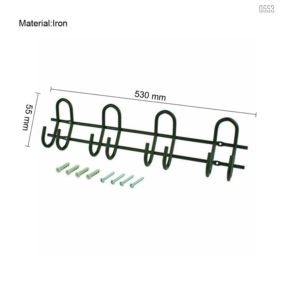 4 Hooks Heavy Duty Steel 20-3/4 in Wall Mount Storage Hook and Rail 100 lbs
