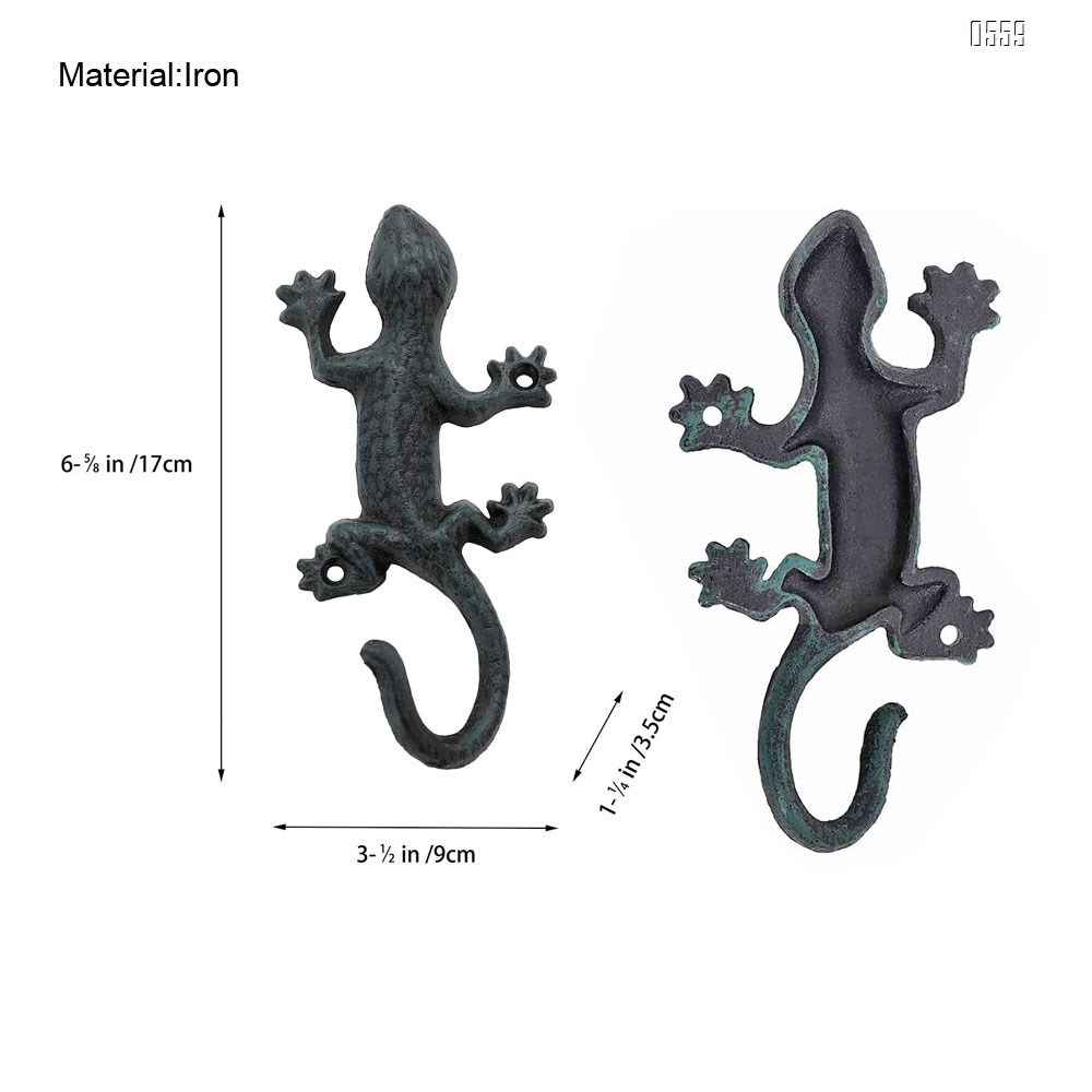 Coat Hooks Hanging Wall Mounted Rustic Decorative Gecko Hook, Cast Iron 6 Inch Key Holder Wall Decor