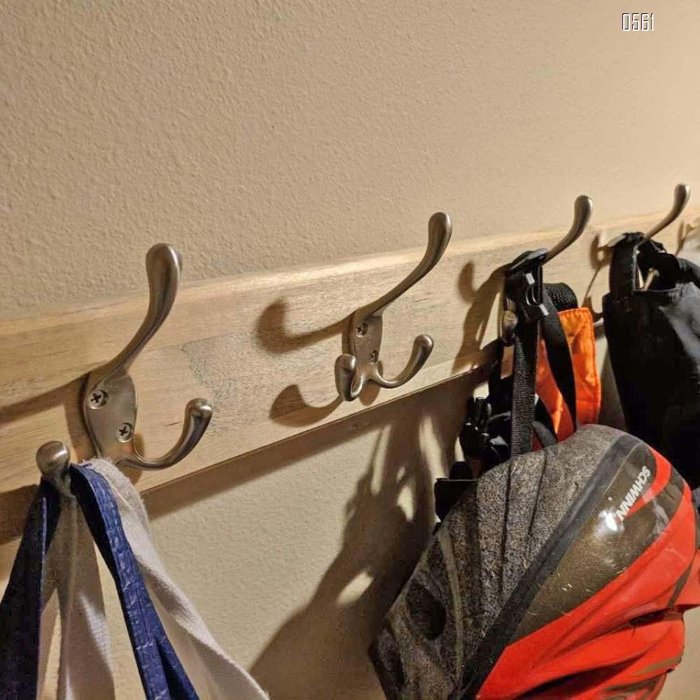 Zinc Alloy Hook With Three Prongs Ambipolar TriLeg Hook, Heavy Duty Big Triple Leg/Double Coat Hooks Base. Entryway Coat Hooks, Scarf and Jacket Hangers