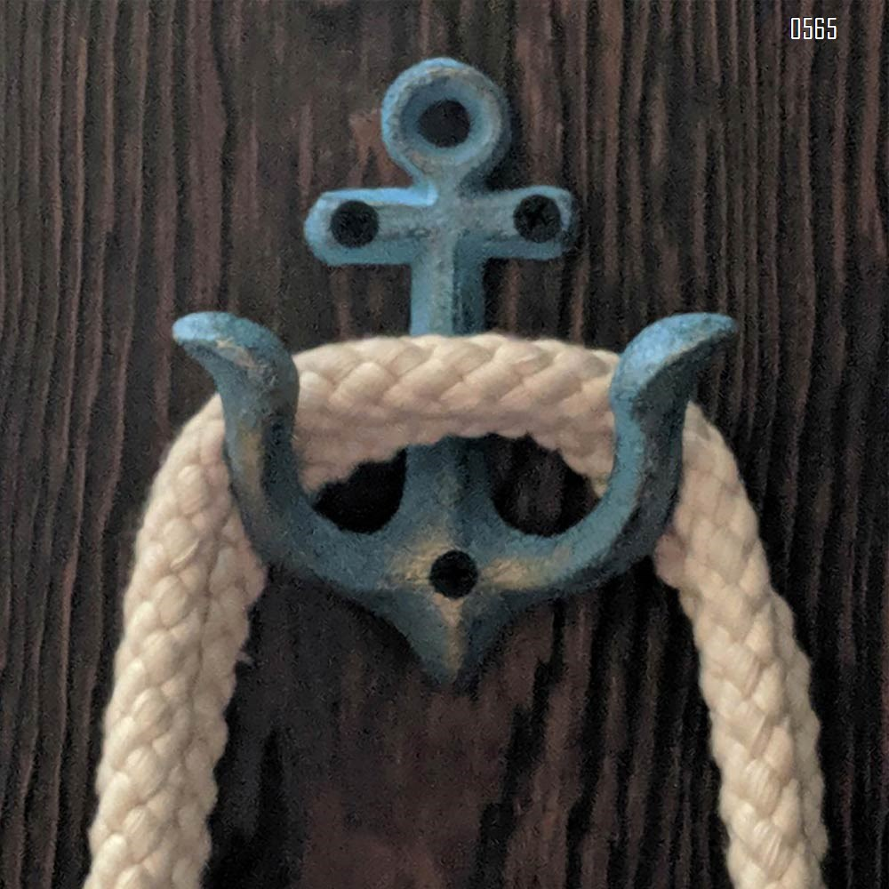 Blue Vintage Rustic Cast Iron Nautical Anchor Design Wall Hooks Coat Hooks Rack, Decorative Wall Mounted Antique Shabby Chic Metal Home Bath Room Towel Coat Hooks Hanger