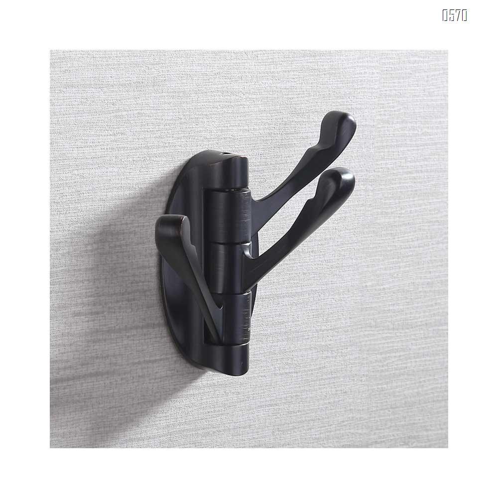 Swivel Hooks Solid Metal Foldable Towel Hooks with Multi Three Rotating Arms Swing Arm Triple Robe Hook Hanger, Wall Mounted, Matte Black